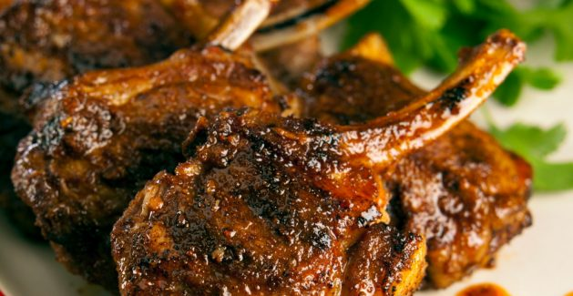hanout spiced lamb chops and smashed peas spiced lamb loin chops