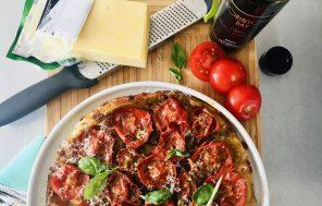 Tomato and Basil Pesto Tarte Tatin - Jax Hamilton Cooks