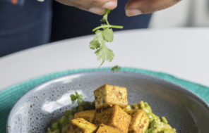 Masala Spinach Risotto w Pan Fried Tofu - Jax Food Hax