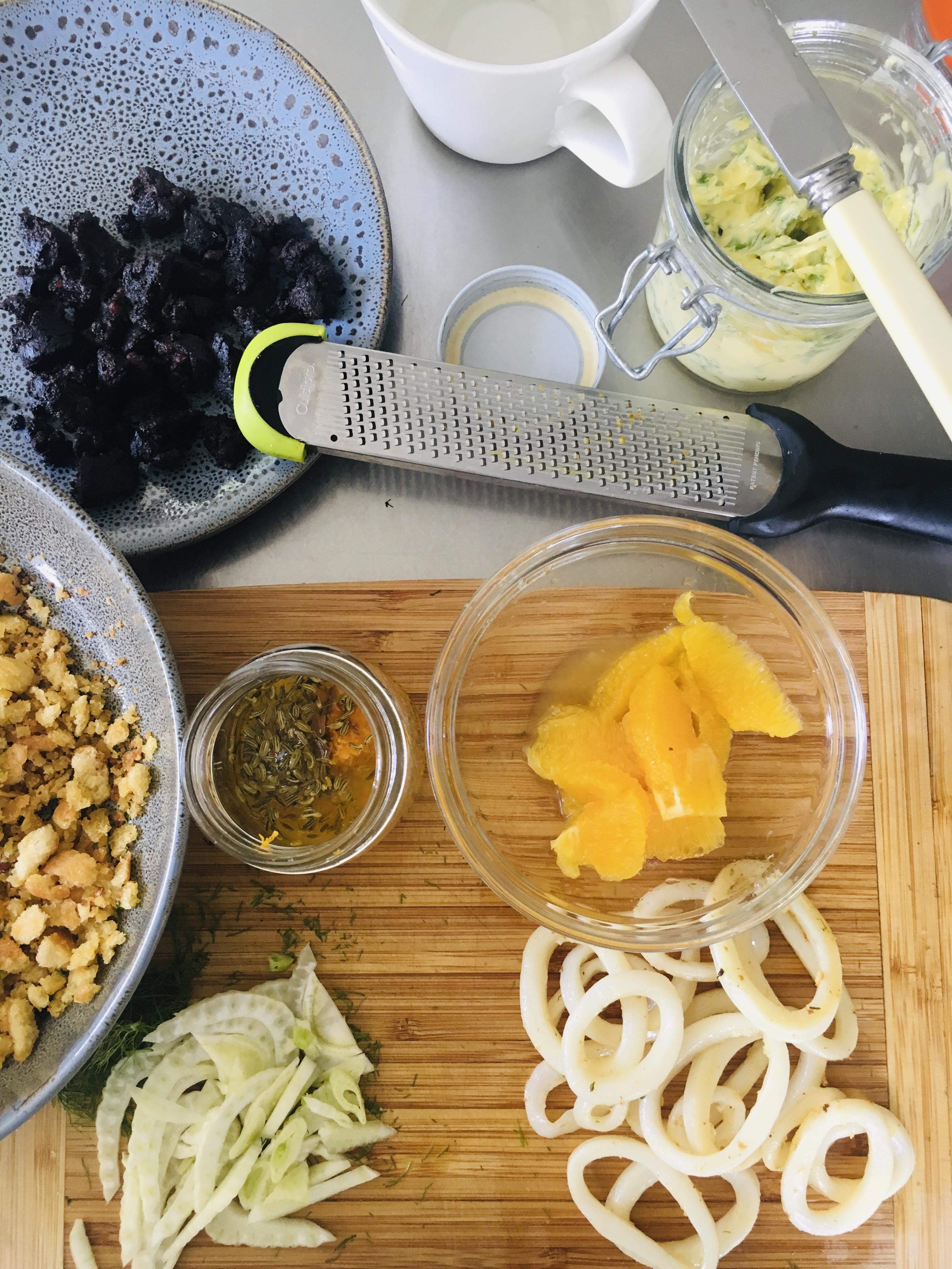 Squid, Fennel, Black Pudding Salad w Orange Juice Dressing - Jax Hamilton Cooks