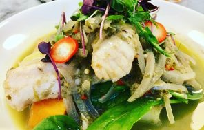 Poached Cod in a Spicy Coconut Cream Broth - Jax Hamilton Cooks